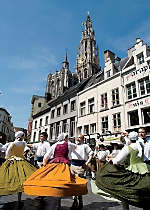 Encounter local folk dancers while touring Antwerp