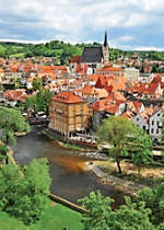 View scenic Cesky Krumlov while cruising through the Czech Republic