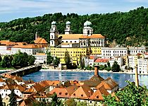 View St. Steven's Cathedral and Danube River in Passau Germany