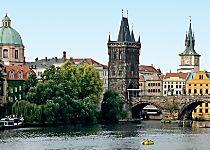 View the Charles Bridge while exploring Prague