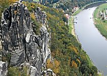 Discover the scenic view from atop the Bastei sandstone bridge