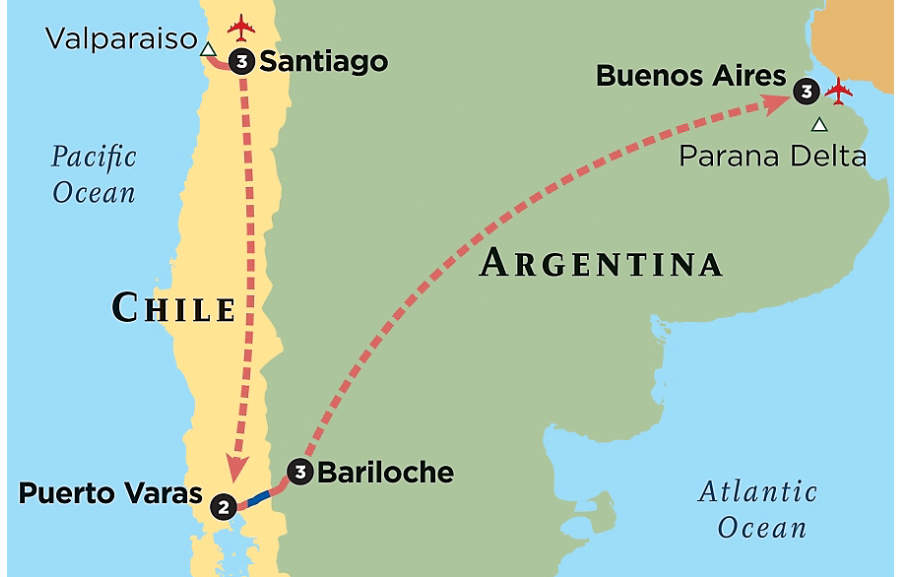 South American Tour Discover South America Chile Argentina - Argentina highlights map