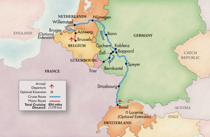 Map Of France Germany Switzerland.Rhine River Cruise Mosel River Belgium To Switzerland Grand